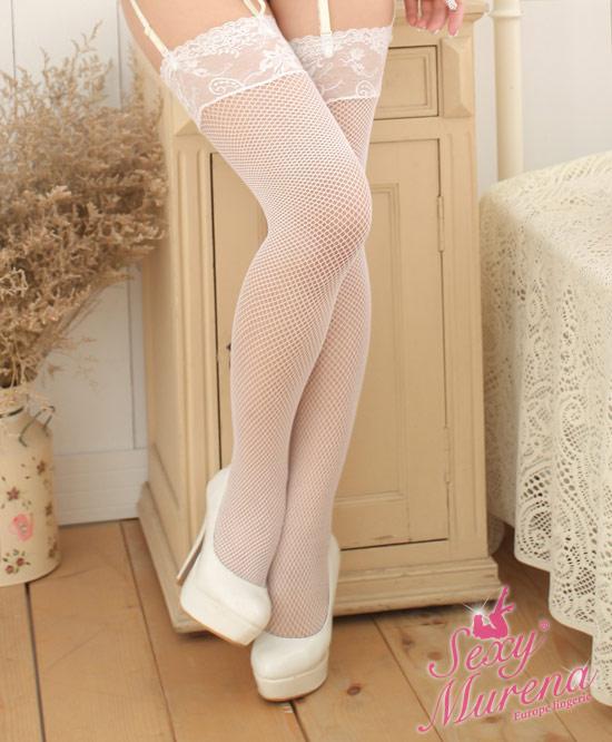 蕾絲網狀絲襪(白)